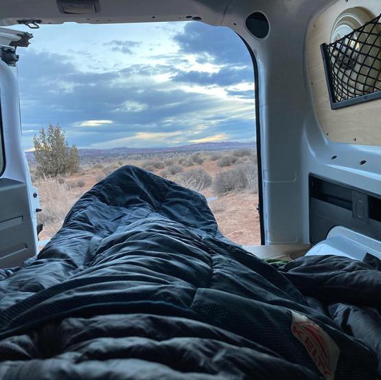 Cascade compact campervan bed sleeping bag back door