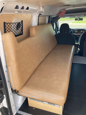 Cascade compact campervan couch and pullout bed