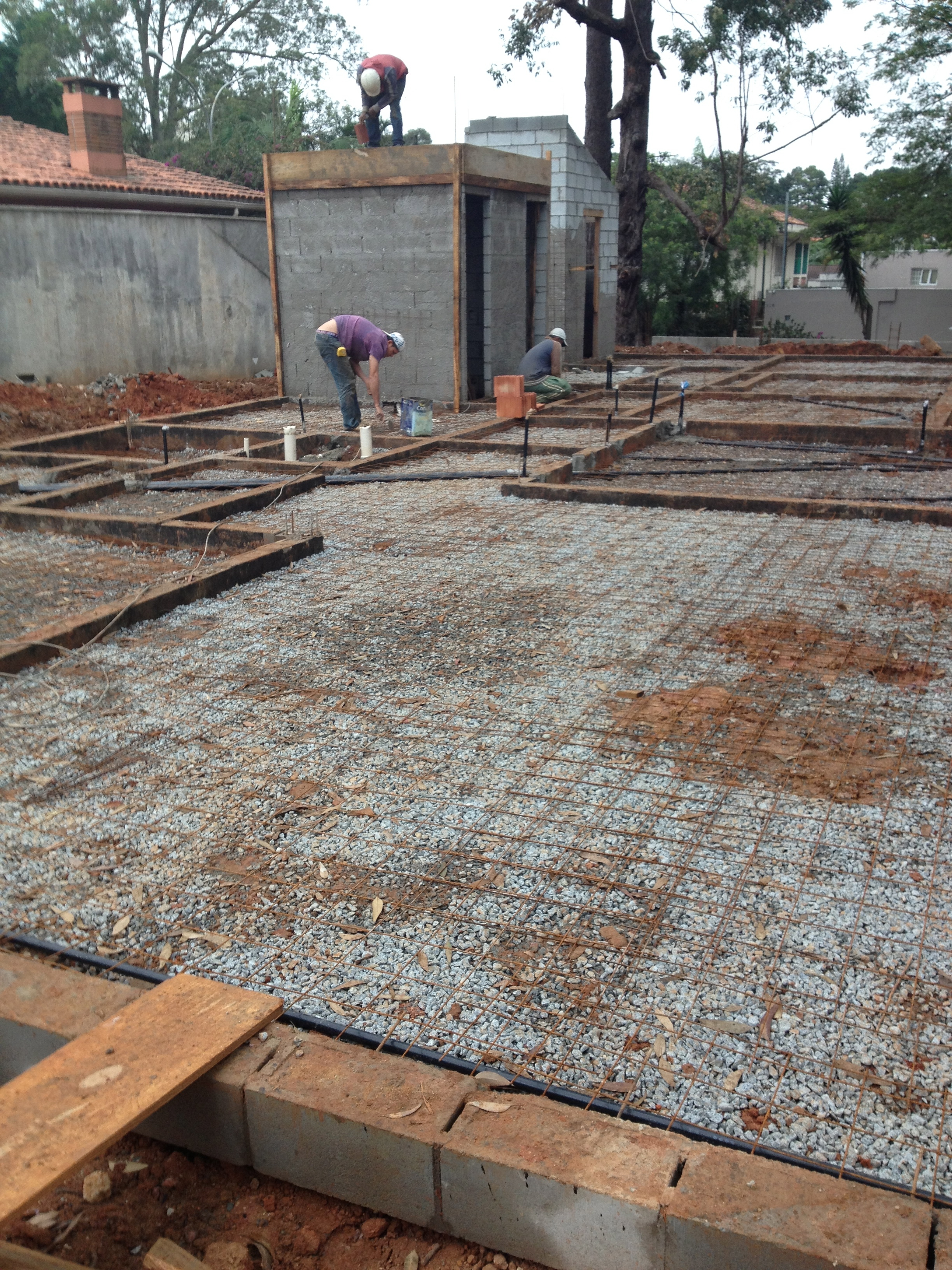 Laje de piso, pré-concretagem