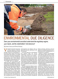 Environmental Due Diligence: Does your environmental consultant understand the regulatory regime, your need, and the stakeholders' risk tolerance?