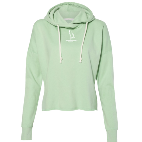 Mint Cropped Sailboat Hoodie