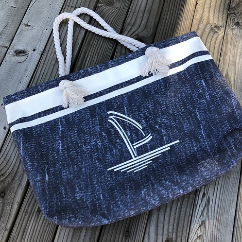 Navy Blue Canvas Tote