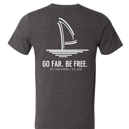 Go Far. Be Free. Heather Charcoal Tee