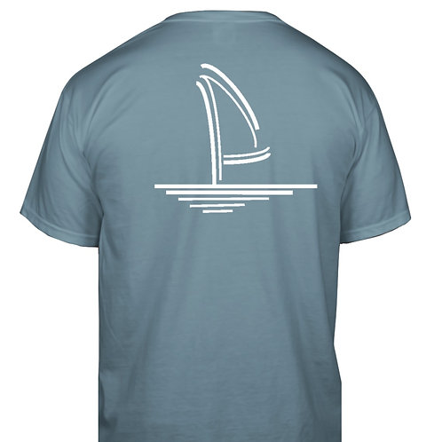 Sailboat Vintage T-Shirt - Washed Blue