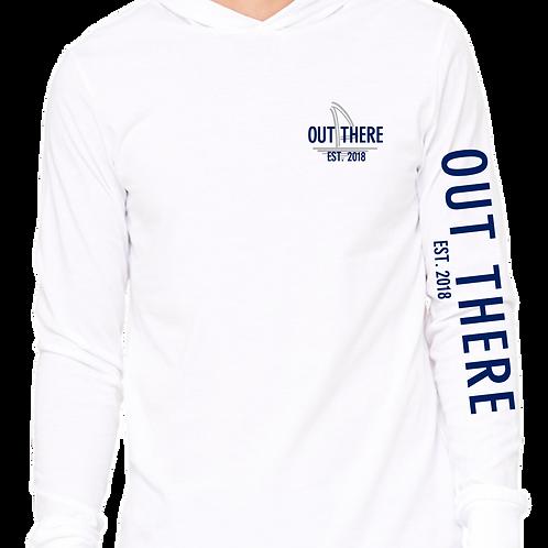 Grey & Navy Lightweight Beach Hoodie -White