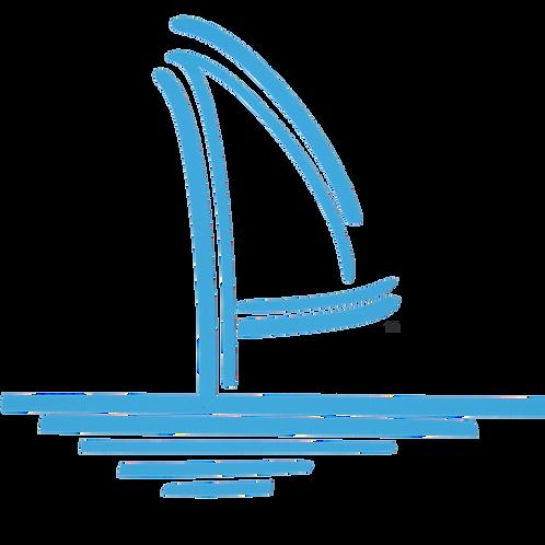 Sailboat Logo Vinyl Decal - Ocean Blue
