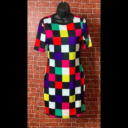Colorblock Plaid Bodycon Dress
