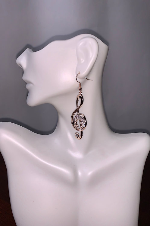 Music Note Drop Earrings (Rose Gold)