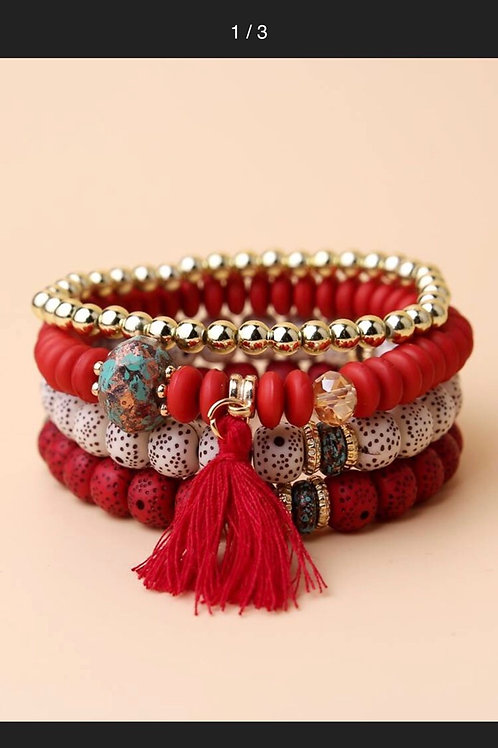 4pcs Tassel Charm Beaded Bracelet (Red)