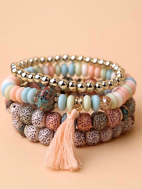 4pcs Tassel Charm Beaded Bracelet (Pastel)
