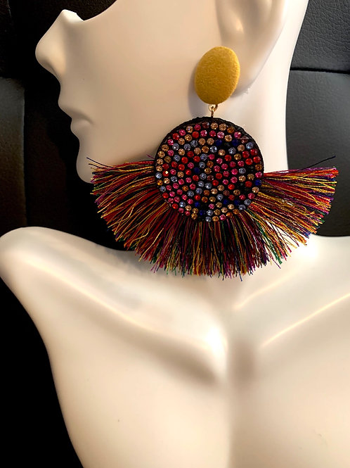 Multi-Colored Tassel Fan Earrings