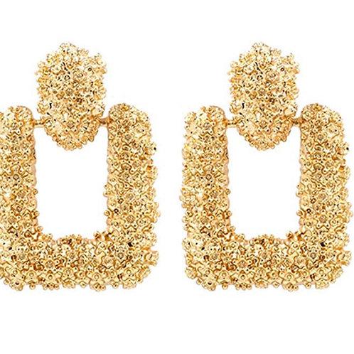 Gold Geometric Rectangle Earrings