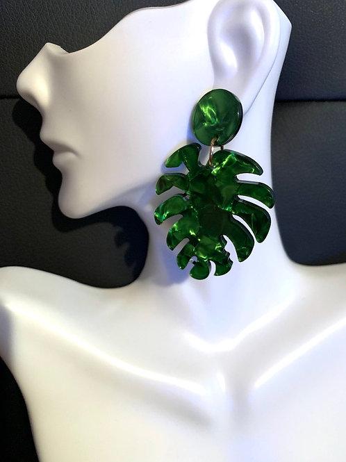 Green Palm Leaf Drop Earrings