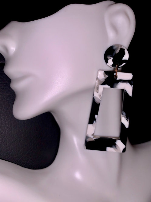 Marble Cut Out Drop Earrings
