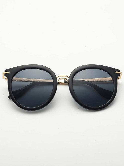 Unisex Black/Gold Trim Sunglasses