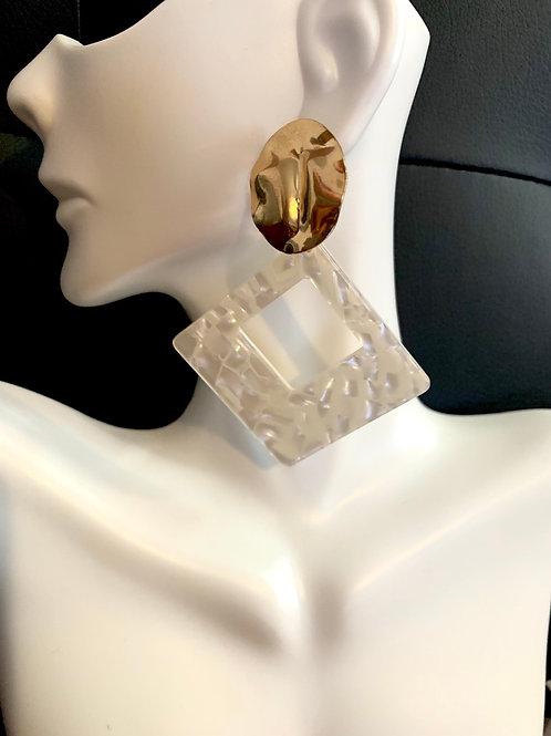 Gold/White Diamond Drop Earrings
