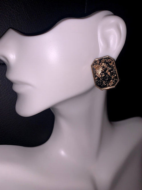 Black/Gold Stud Earrings
