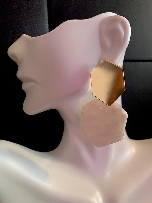 White/Gold Resin Earrings