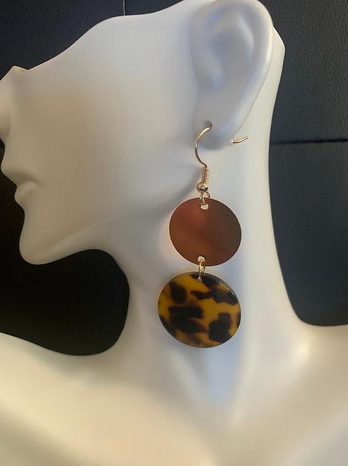 Tortoise/Gold Drop Earrings
