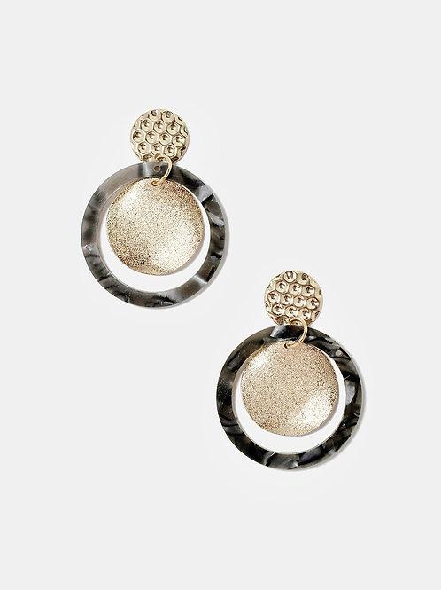 Gold Disk Marble Earrings