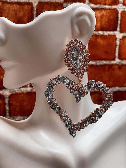 Diamond Rhinestone Heart Earrings