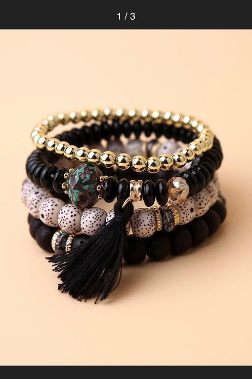 4pcs Tassel Charm Beaded Bracelet (Black)