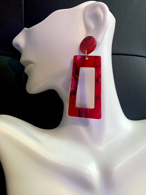 Red Acrylic Drop Earrings