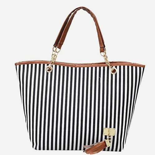 Black/White Striped Bag
