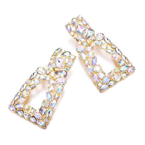 Gemstone Geometric Drop Earrings
