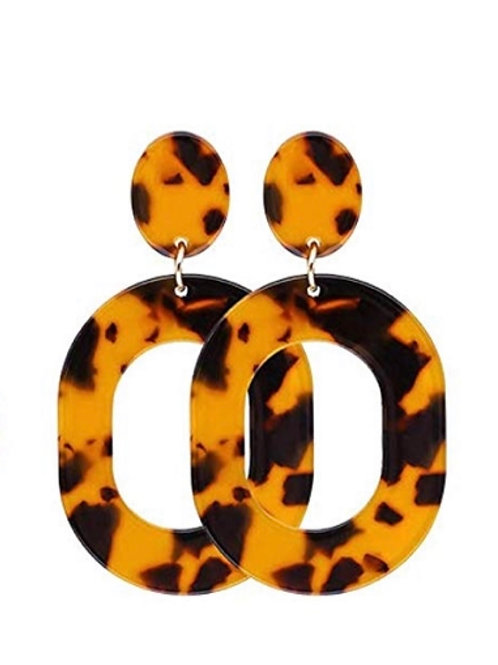 Black And Brown Resin Earrings