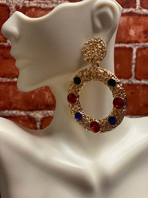 Rhinestone Decor Round Drop Earrings
