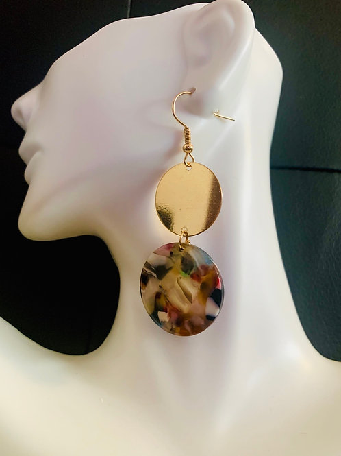 Multi-Colored/Gold Drop Earrings