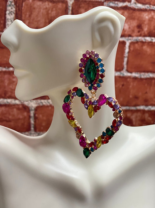 Colorful Rhinestone Heart Earrings