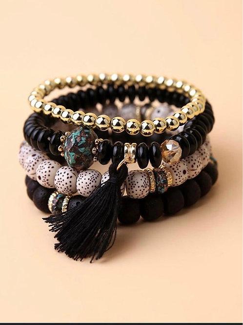 4pcs Tassel Charm Beaded Bracelet (Black)