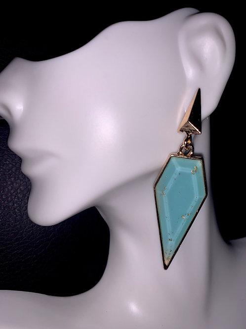 Blue/Gold Drop Earrings