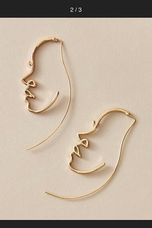 Abstract Face Hanging Earrings