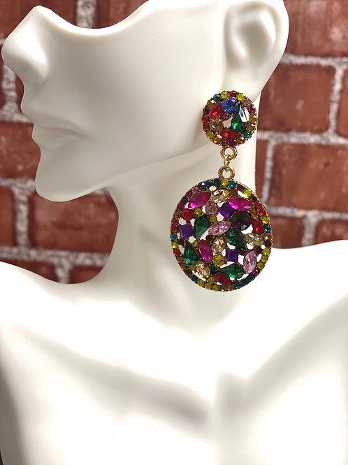 Rhinestone Decor Waterdrop Earrings