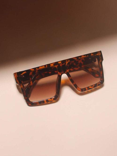 Tortoiseshell Frame Flat Top Sunglasses