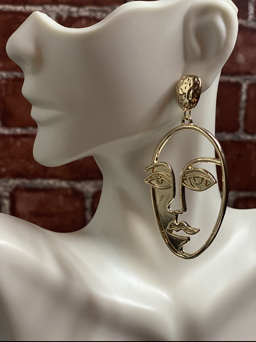 Abstract Face Drop Earrings