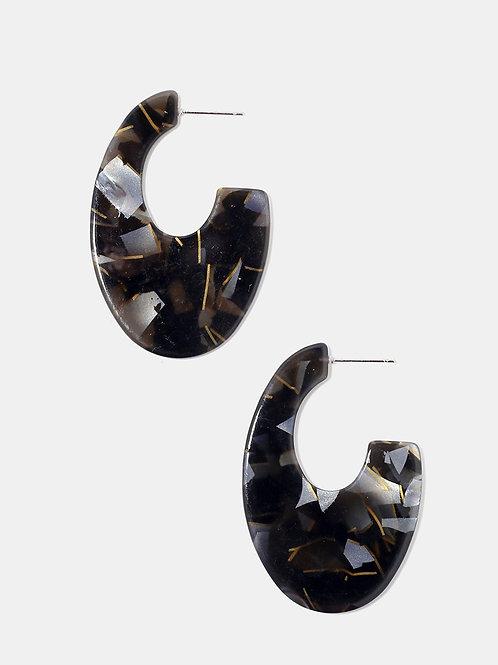 Black Marble Hoop Earrings