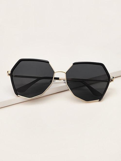 Polygon Frame Flat Lens Sunglasses