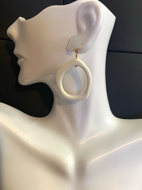 White Contemporary Drop Earrings