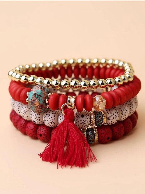 4pcs Tassel Charm Beaded Bracelet (Red)