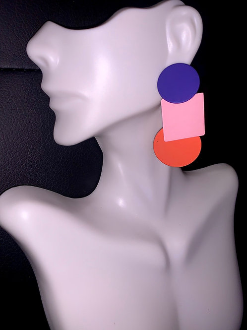 Color Block Geometric Earrings