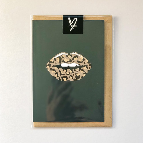 Leopard Lips Greeting Card