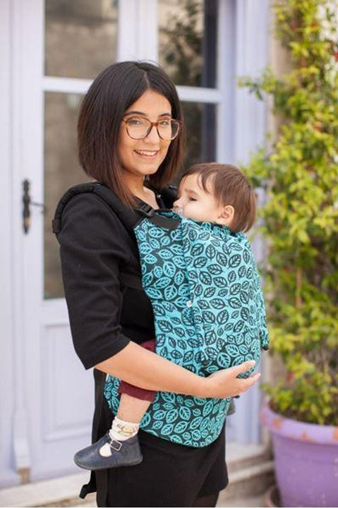 Symrna Leaves Sky Wrap Conversion Baby Size Full Buckle Carrier