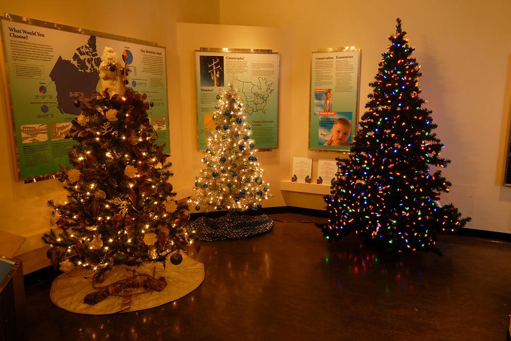 Three decorated Christmas trees