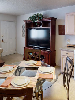 Living Room, Dining Space & Kitchen
