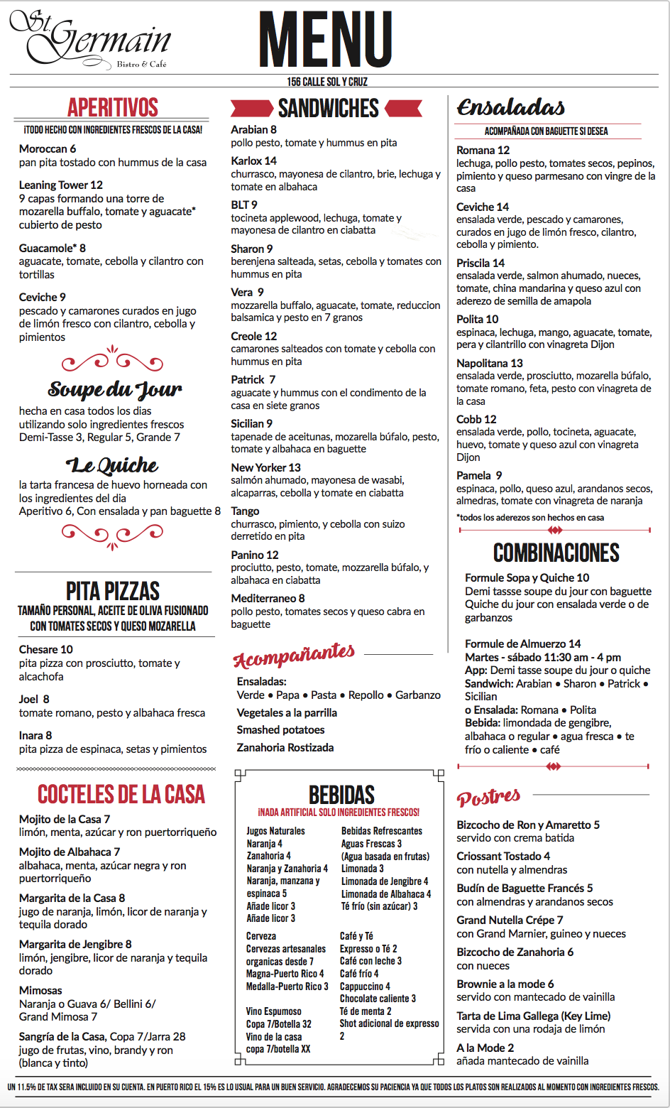 Menu St Germain 2017
