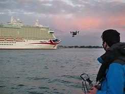 DJI Inspire 2 drone filming cruise ship at sea